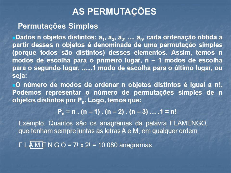 AS PERMUTAÇÕES Permutações Simples Dados n objetos distintos: a 1, a 2, a 3,.... a n, cada ordenação obtida a partir desses n objetos é denominada de