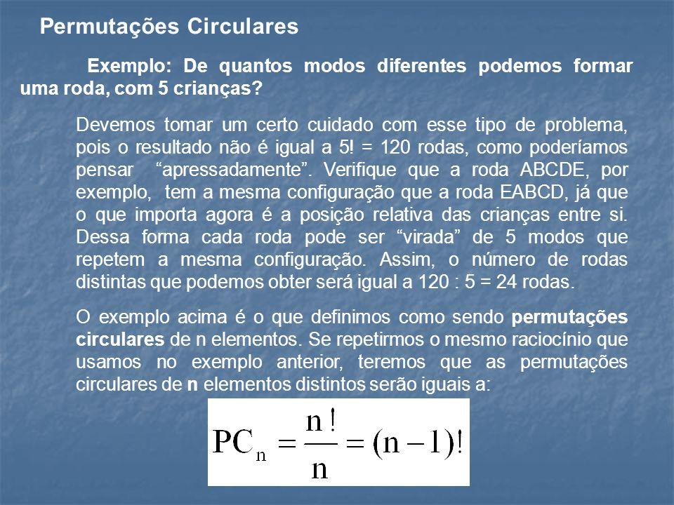 Permutações Circulares Exemplo: De quantos modos diferentes podemos formar uma roda, com 5 crianças? Devemos tomar um certo cuidado com esse tipo de p