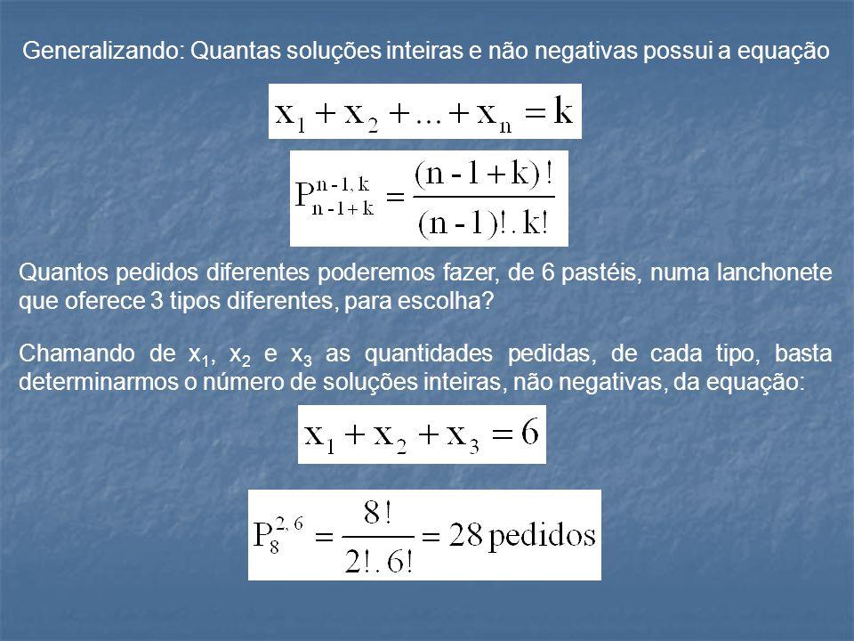 Generalizando: Quantas soluções inteiras e não negativas possui a equação Quantos pedidos diferentes poderemos fazer, de 6 pastéis, numa lanchonete qu