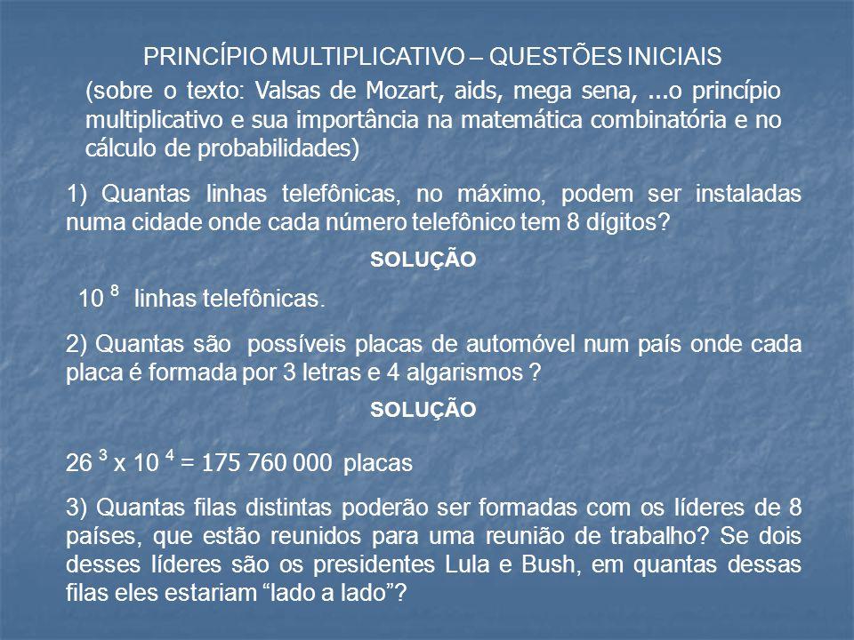 PRINCÍPIO MULTIPLICATIVO – QUESTÕES INICIAIS (sobre o texto: Valsas de Mozart, aids, mega sena,...o princípio multiplicativo e sua importância na mate