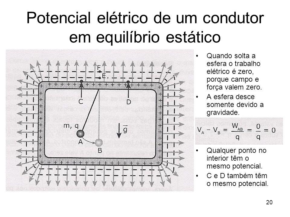 20 Potencial elétrico de um condutor em equilíbrio estático Quando solta a esfera o trabalho elétrico é zero, porque campo e força valem zero. A esfer
