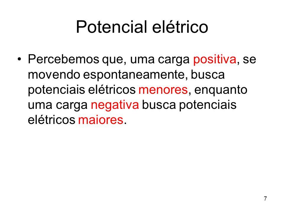 7 Potencial elétrico Percebemos que, uma carga positiva, se movendo espontaneamente, busca potenciais elétricos menores, enquanto uma carga negativa b