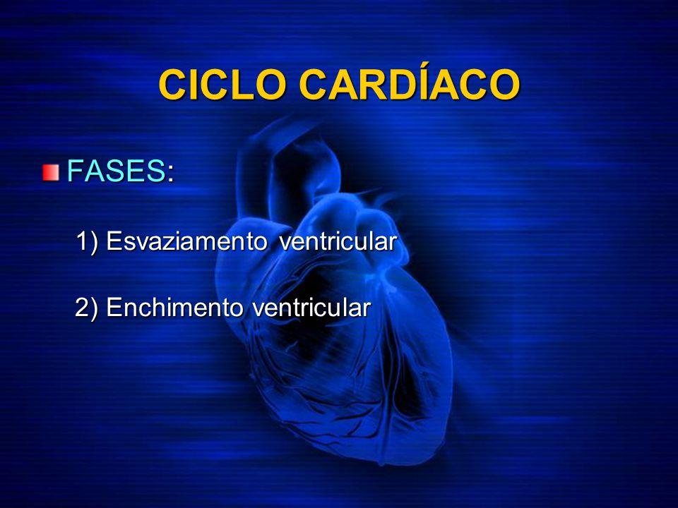 FASES: 1) Esvaziamento ventricular 2) Enchimento ventricular CICLO CARDÍACO