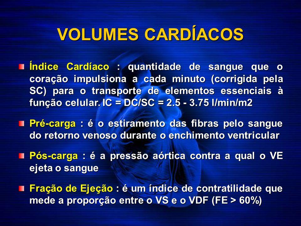 VOLUMES CARDÍACOS Índice Cardíaco : quantidade de sangue que o coração impulsiona a cada minuto (corrigida pela SC) para o transporte de elementos ess