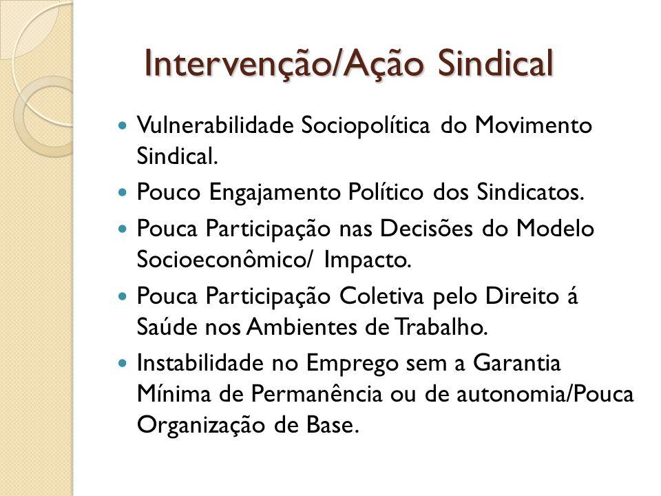 Intervenção/Ação Sindical Intervenção/Ação Sindical Vulnerabilidade Sociopolítica do Movimento Sindical. Pouco Engajamento Político dos Sindicatos. Po