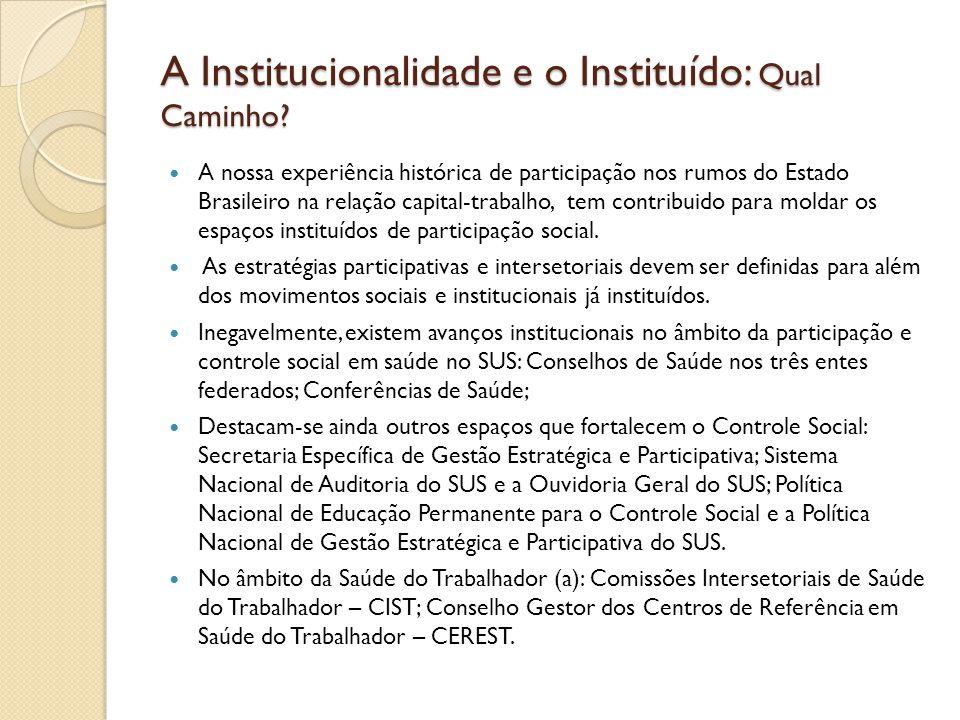 A Institucionalidade e o Instituído: Qual Caminho? A nossa experiência histórica de participação nos rumos do Estado Brasileiro na relação capital-tra