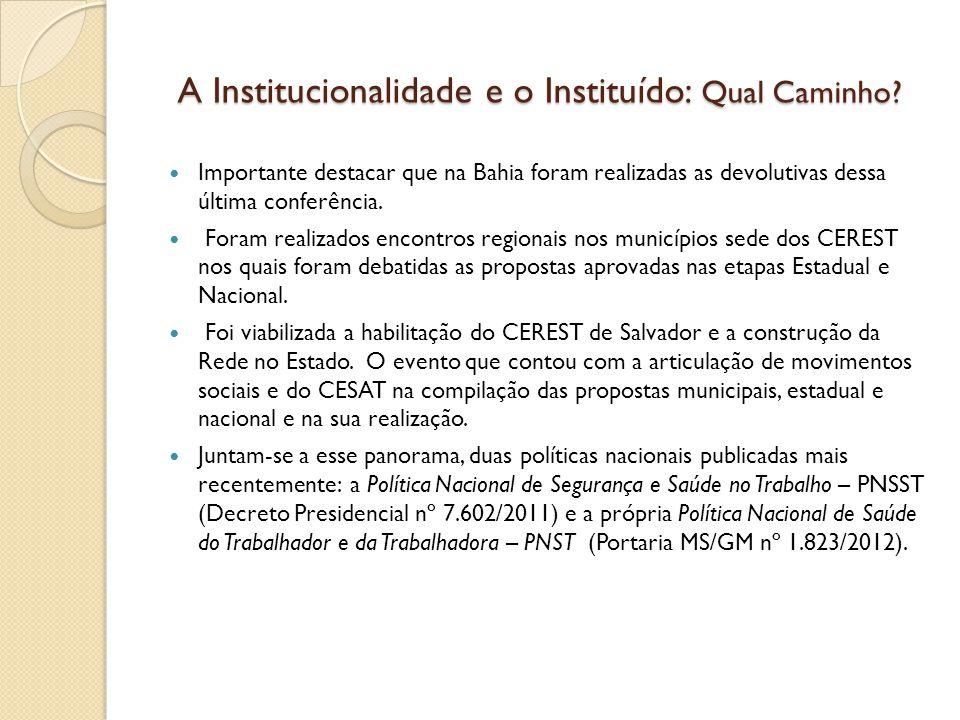 A Institucionalidade e o Instituído: Qual Caminho? A Institucionalidade e o Instituído: Qual Caminho? Importante destacar que na Bahia foram realizada