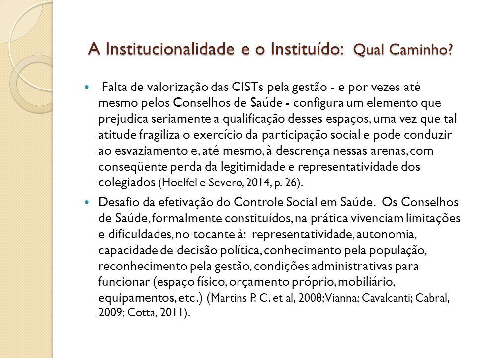 A Institucionalidade e o Instituído: Qual Caminho? A Institucionalidade e o Instituído: Qual Caminho? Falta de valorização das CISTs pela gestão - e p