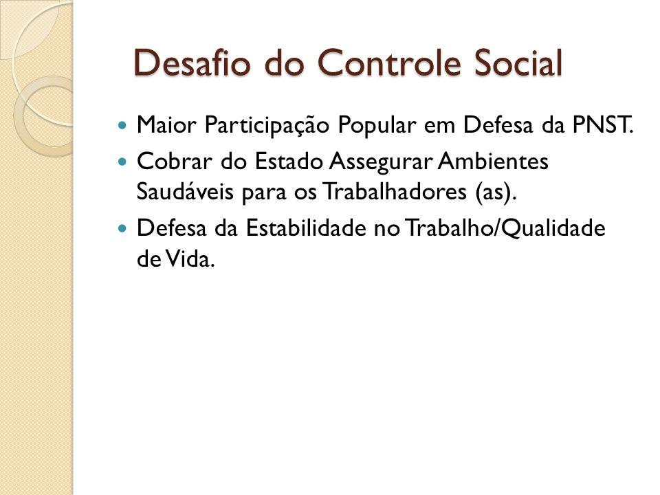 Desafio do Controle Social Desafio do Controle Social Maior Participação Popular em Defesa da PNST. Cobrar do Estado Assegurar Ambientes Saudáveis par