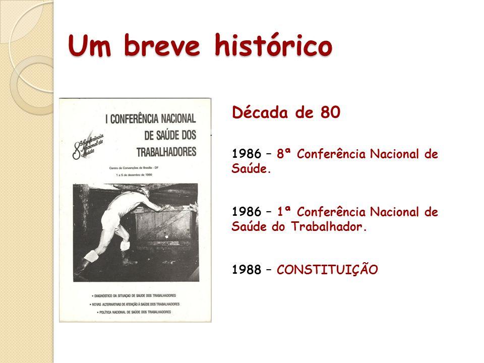 Um breve histórico Década de 80 1986 – 8ª Conferência Nacional de Saúde. 1986 – 1ª Conferência Nacional de Saúde do Trabalhador. 1988 – CONSTITUIÇÃO