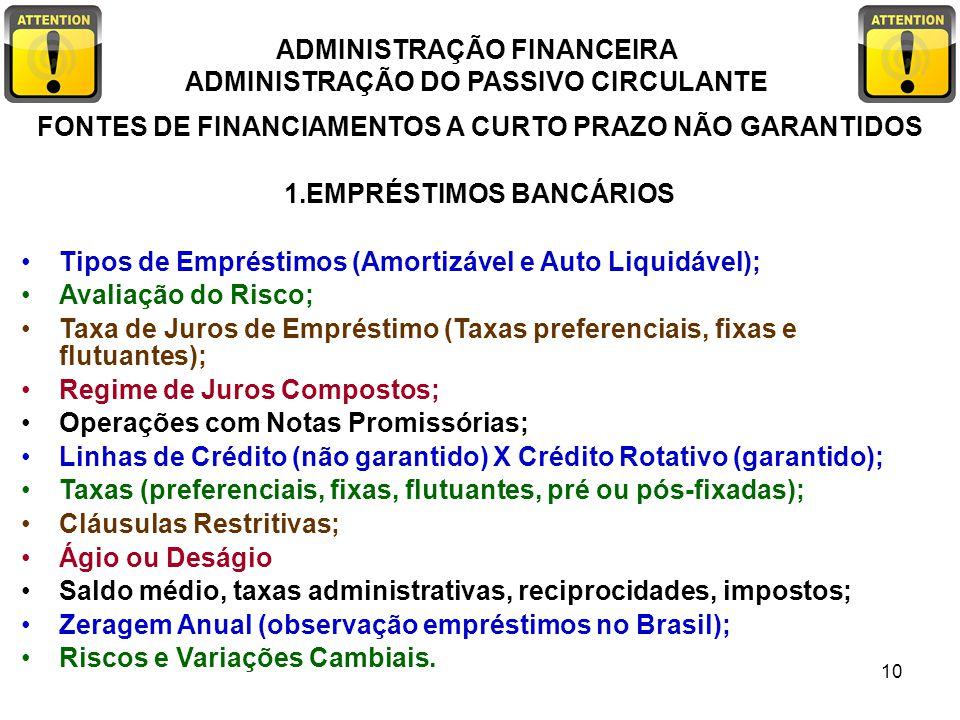 ADMINISTRAÇÃO FINANCEIRA ADMINISTRAÇÃO DO PASSIVO CIRCULANTE 10 FONTES DE FINANCIAMENTOS A CURTO PRAZO NÃO GARANTIDOS 1.EMPRÉSTIMOS BANCÁRIOS Tipos de
