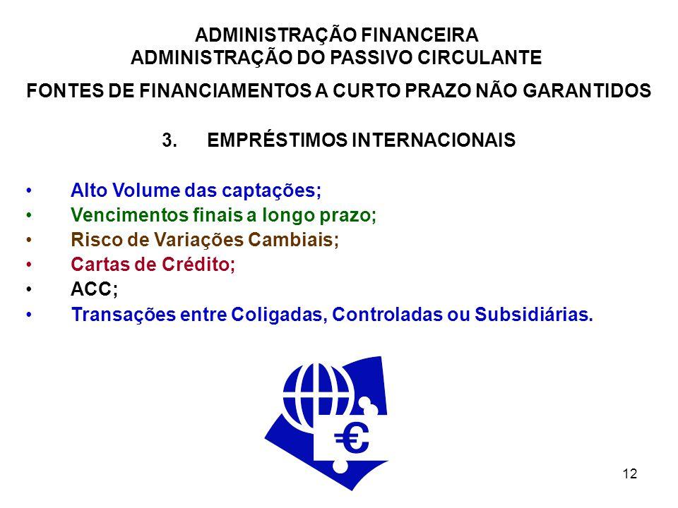 ADMINISTRAÇÃO FINANCEIRA ADMINISTRAÇÃO DO PASSIVO CIRCULANTE 12 FONTES DE FINANCIAMENTOS A CURTO PRAZO NÃO GARANTIDOS 3.EMPRÉSTIMOS INTERNACIONAIS Alt