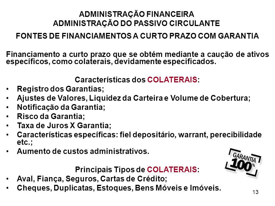 ADMINISTRAÇÃO FINANCEIRA ADMINISTRAÇÃO DO PASSIVO CIRCULANTE 13 FONTES DE FINANCIAMENTOS A CURTO PRAZO COM GARANTIA Financiamento a curto prazo que se