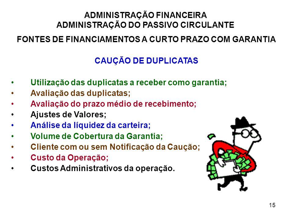 ADMINISTRAÇÃO FINANCEIRA ADMINISTRAÇÃO DO PASSIVO CIRCULANTE 15 FONTES DE FINANCIAMENTOS A CURTO PRAZO COM GARANTIA CAUÇÃO DE DUPLICATAS Utilização da