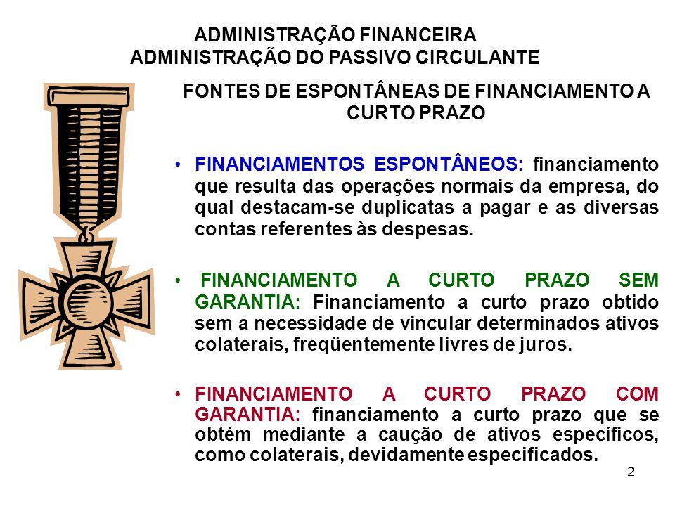 ADMINISTRAÇÃO FINANCEIRA ADMINISTRAÇÃO DO PASSIVO CIRCULANTE 3 FONTES DE ESPONTÂNEAS DE FINANCIAMENTO A CURTO PRAZO 1.CONTAS A PAGAR Resultantes dos serviços recebidos que ainda deverão ser pagos (impostos e salários) 2.DUPLICATAS A PAGAR Principal fonte de financiamento a curto prazo não garantido e resulta da compra de mercadorias a prazo CONDIÇÕES DE CRÉDITO Período de Crédito: nº de dias até a data estabelecida para o pagamento integral de uma duplicata a pagar