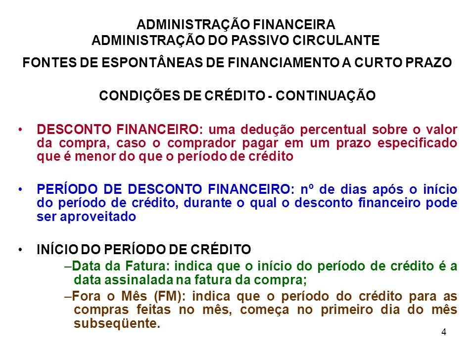 ADMINISTRAÇÃO FINANCEIRA ADMINISTRAÇÃO DO PASSIVO CIRCULANTE 4 FONTES DE ESPONTÂNEAS DE FINANCIAMENTO A CURTO PRAZO CONDIÇÕES DE CRÉDITO - CONTINUAÇÃO