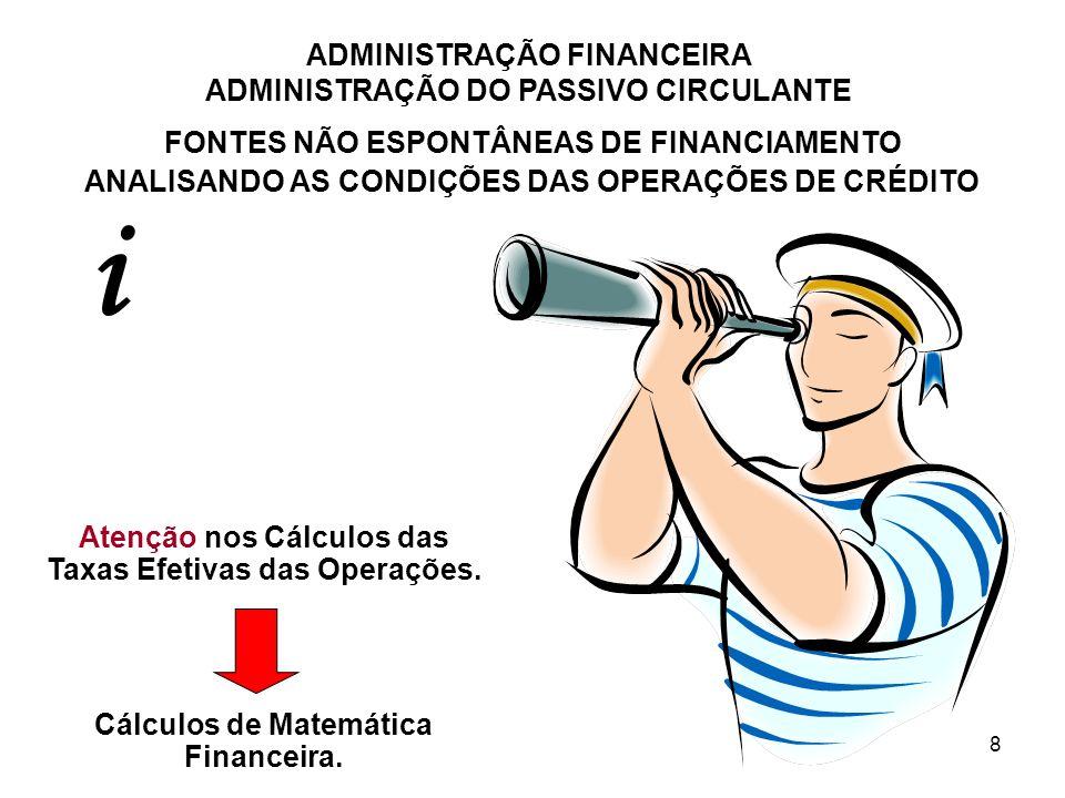 ADMINISTRAÇÃO FINANCEIRA ADMINISTRAÇÃO DO PASSIVO CIRCULANTE 8 FONTES NÃO ESPONTÂNEAS DE FINANCIAMENTO ANALISANDO AS CONDIÇÕES DAS OPERAÇÕES DE CRÉDIT
