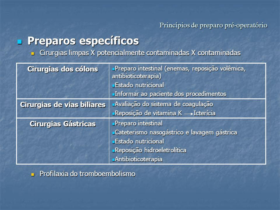 Princípios de preparo pré-operatório Preparos específicos Preparos específicos Cirurgias limpas X potencialmente contaminadas X contaminadas Cirurgias