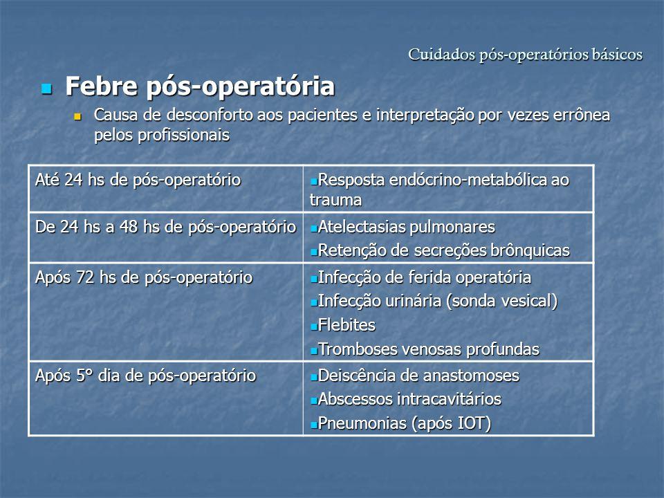 Cuidados pós-operatórios básicos Febre pós-operatória Febre pós-operatória Causa de desconforto aos pacientes e interpretação por vezes errônea pelos