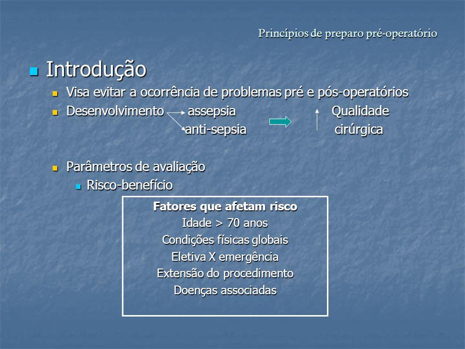 Princípios de preparo pré-operatório Introdução Introdução Visa evitar a ocorrência de problemas pré e pós-operatórios Visa evitar a ocorrência de pro