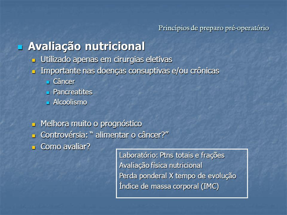 Princípios de preparo pré-operatório Avaliação nutricional Avaliação nutricional Utilizado apenas em cirurgias eletivas Utilizado apenas em cirurgias