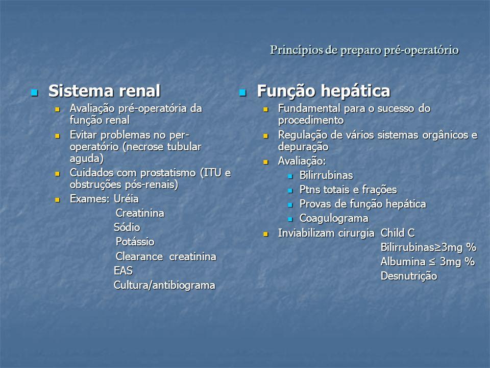 Princípios de preparo pré-operatório Sistema renal Sistema renal Avaliação pré-operatória da função renal Avaliação pré-operatória da função renal Evi