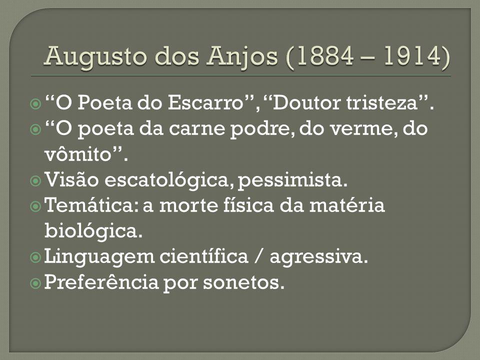 """ """"O Poeta do Escarro"""", """"Doutor tristeza"""".  """"O poeta da carne podre, do verme, do vômito"""".  Visão escatológica, pessimista.  Temática: a morte físi"""