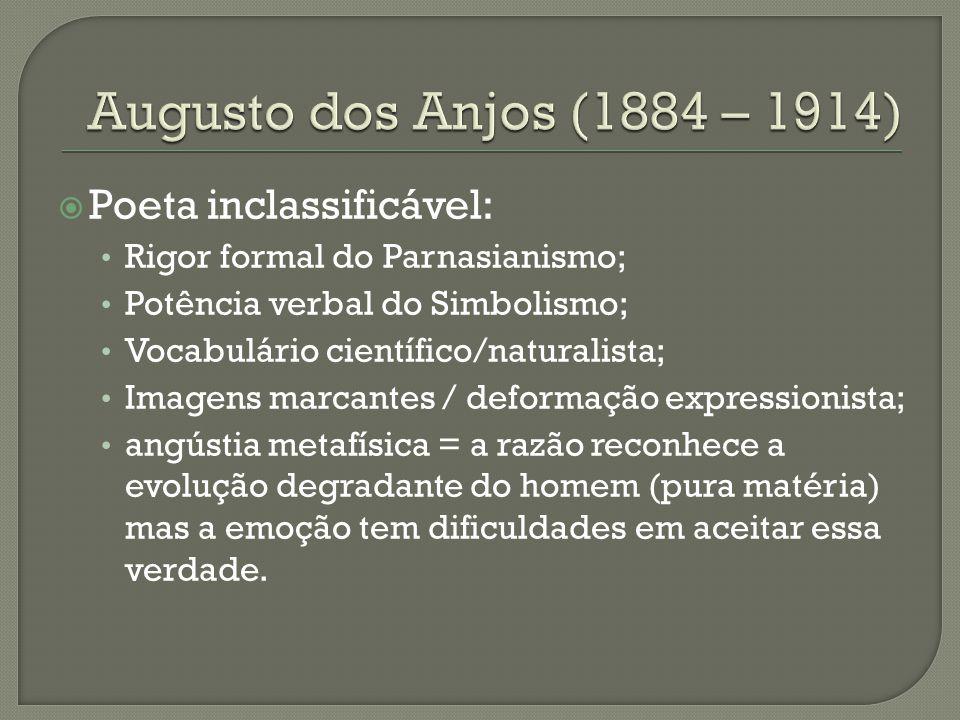  Poeta inclassificável: Rigor formal do Parnasianismo; Potência verbal do Simbolismo; Vocabulário científico/naturalista; Imagens marcantes / deforma