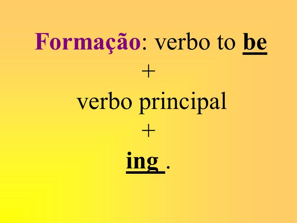 Formação: verbo to be + verbo principal + ing.