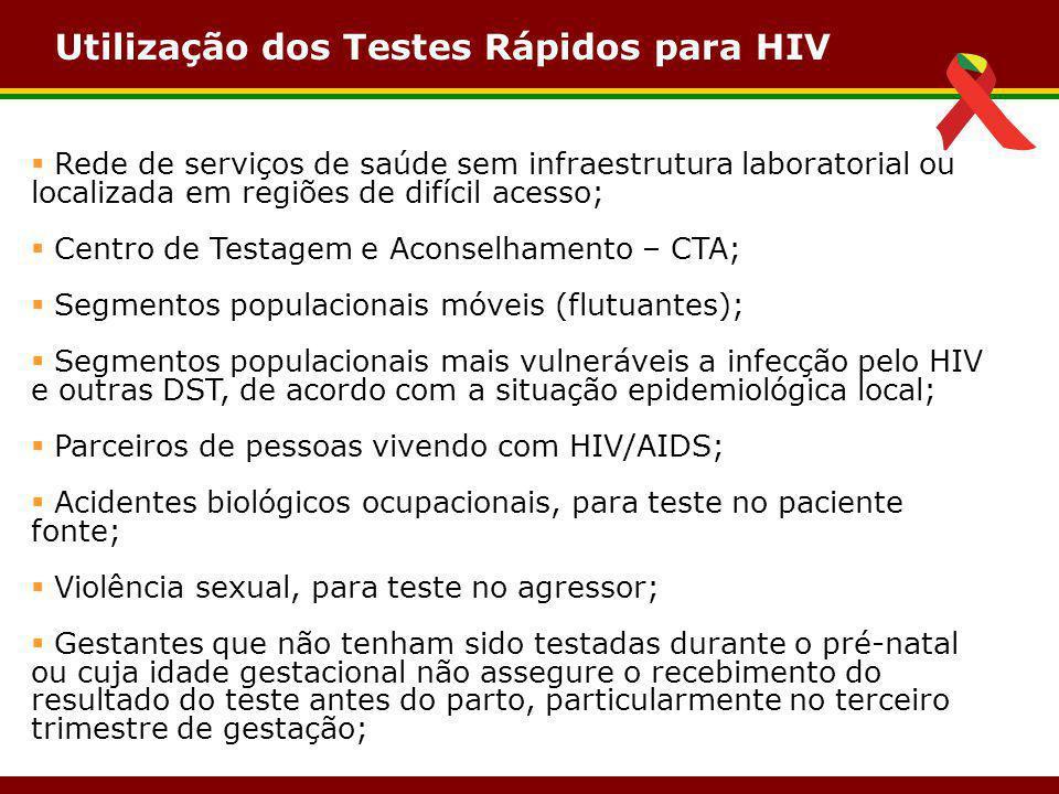 Utilização dos Testes Rápidos para HIV  Rede de serviços de saúde sem infraestrutura laboratorial ou localizada em regiões de difícil acesso;  Centr