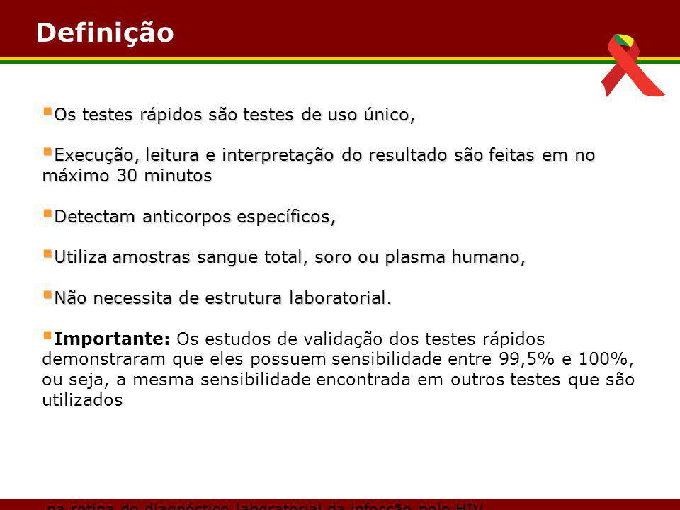 Definição na rotina do diagnóstico laboratorial da infecção pelo HIV.  Os testes rápidos são testes de uso único,  Execução, leitura e interpretação
