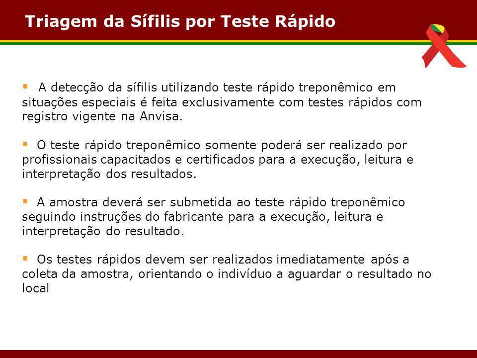 Triagem da Sífilis por Teste Rápido  A detecção da sífilis utilizando teste rápido treponêmico em situações especiais é feita exclusivamente com test