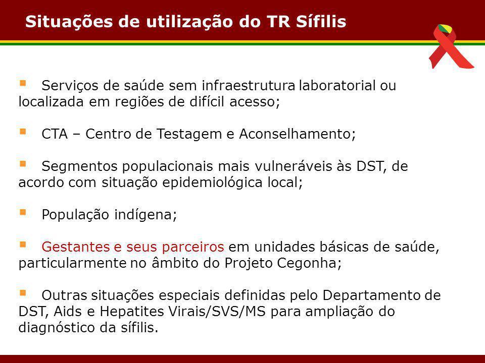Situações de utilização do TR Sífilis  Serviços de saúde sem infraestrutura laboratorial ou localizada em regiões de difícil acesso;  CTA – Centro d