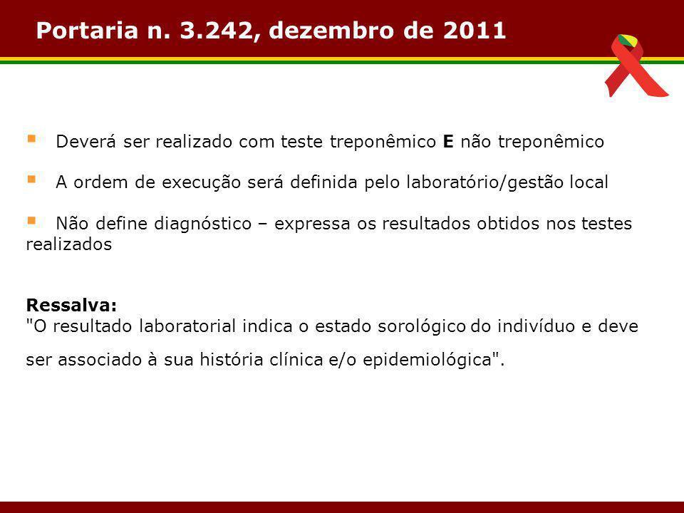 Portaria n. 3.242, dezembro de 2011  Deverá ser realizado com teste treponêmico E não treponêmico  A ordem de execução será definida pelo laboratóri