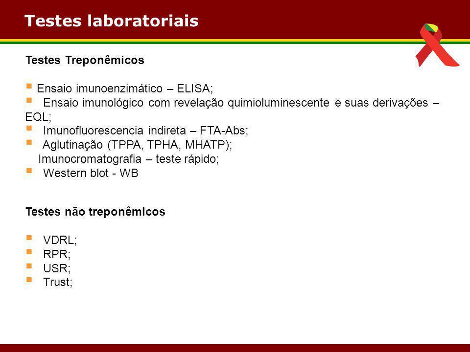 Testes laboratoriais Testes Treponêmicos  Ensaio imunoenzimático – ELISA;  Ensaio imunológico com revelação quimioluminescente e suas derivações – E