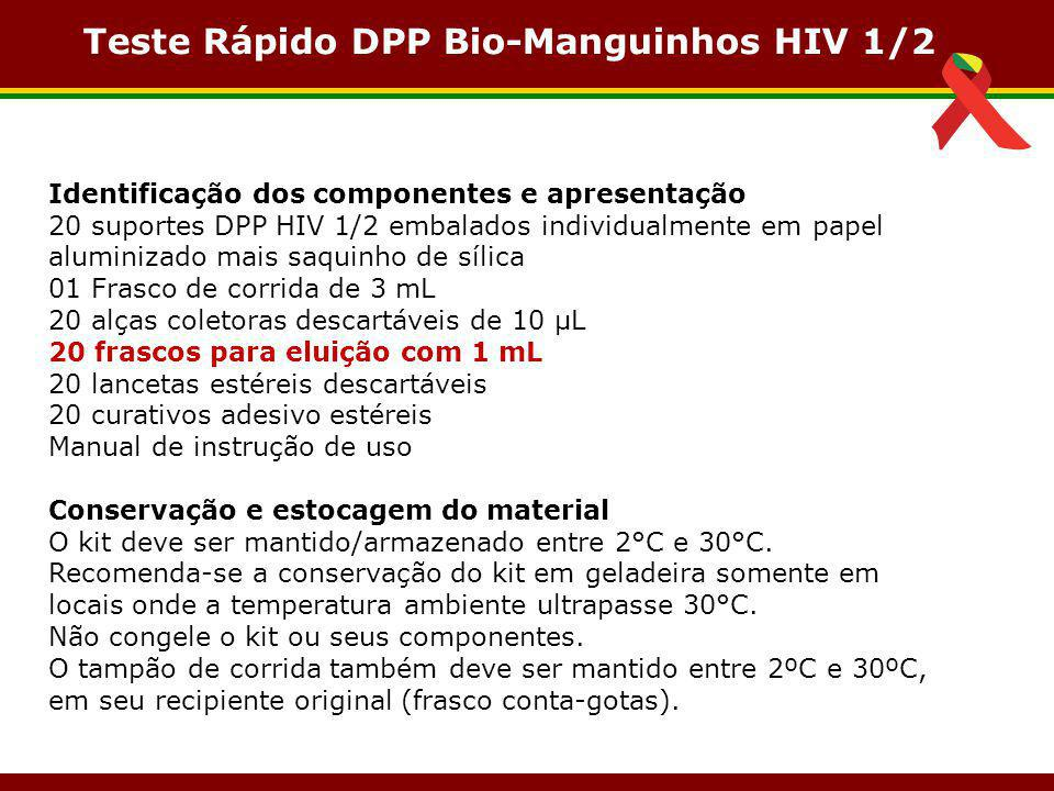 Identificação dos componentes e apresentação 20 suportes DPP HIV 1/2 embalados individualmente em papel aluminizado mais saquinho de sílica 01 Frasco