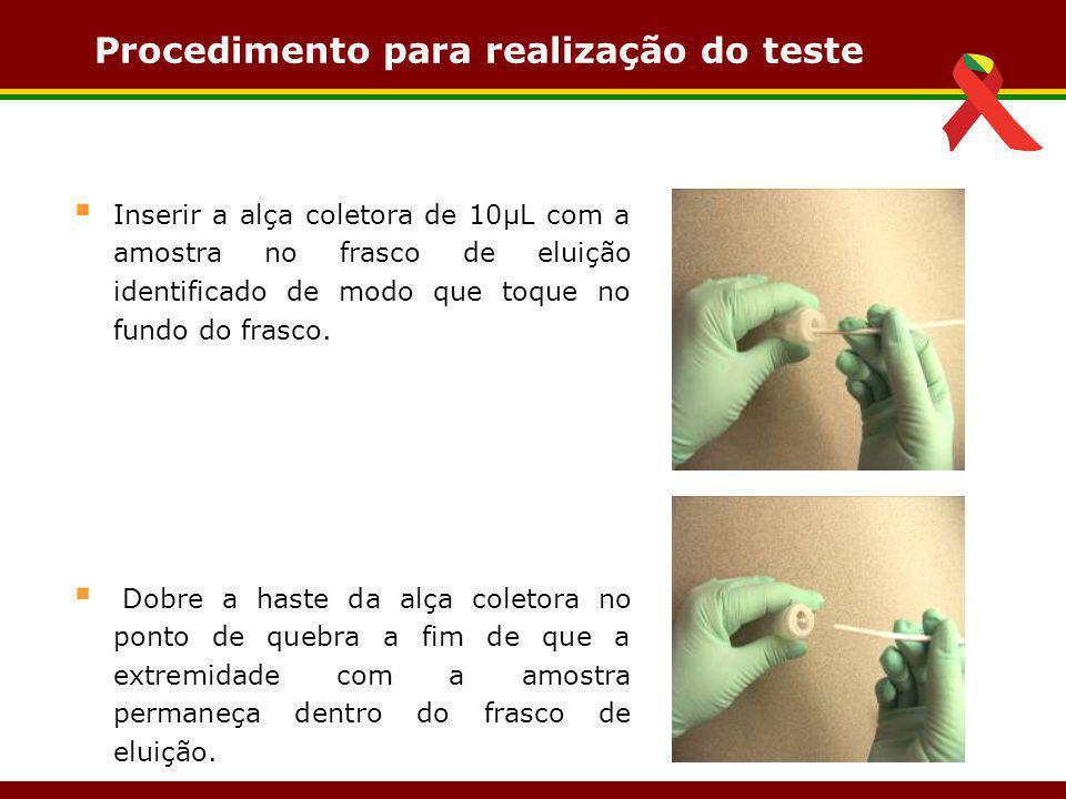 Procedimento para realização do teste  Inserir a alça coletora de 10µL com a amostra no frasco de eluição identificado de modo que toque no fundo do