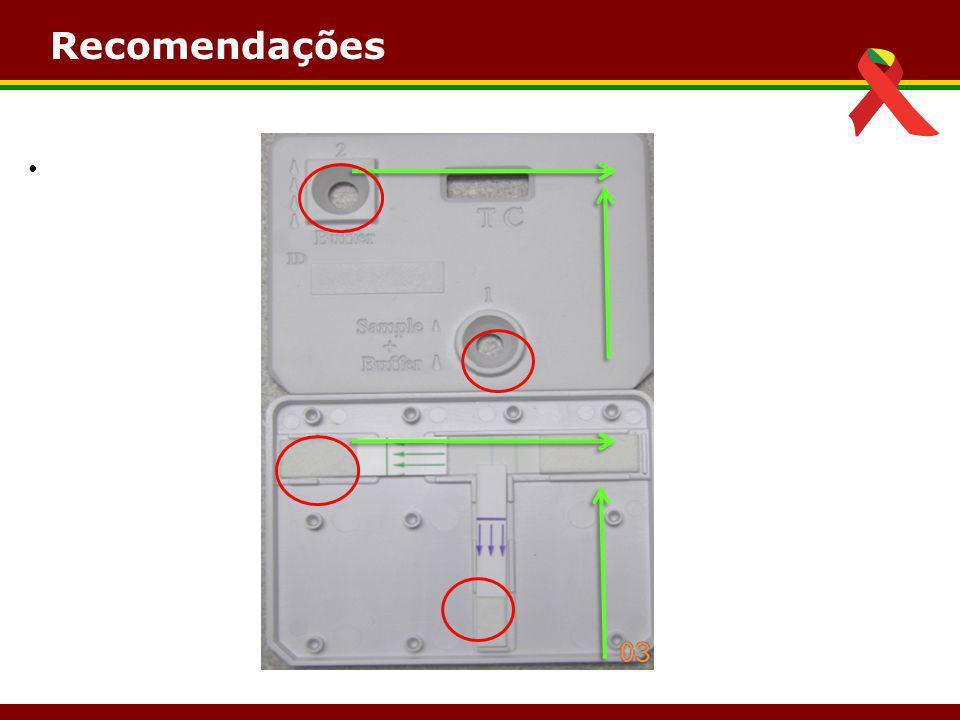 Leitura Resultados Inv á lidos Não Reagente Ausência de linha teste Presença de Linha Controle Ausência de linha teste Presença de Linha Controle Reagente Linha Teste Linha Controle Linha Controle – Sempre presente!