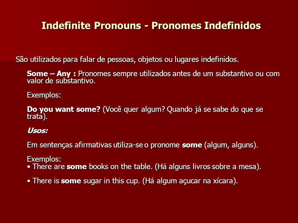 Indefinite Pronouns - Pronomes Indefinidos São utilizados para falar de pessoas, objetos ou lugares indefinidos. Some – Any : Pronomes sempre utilizad