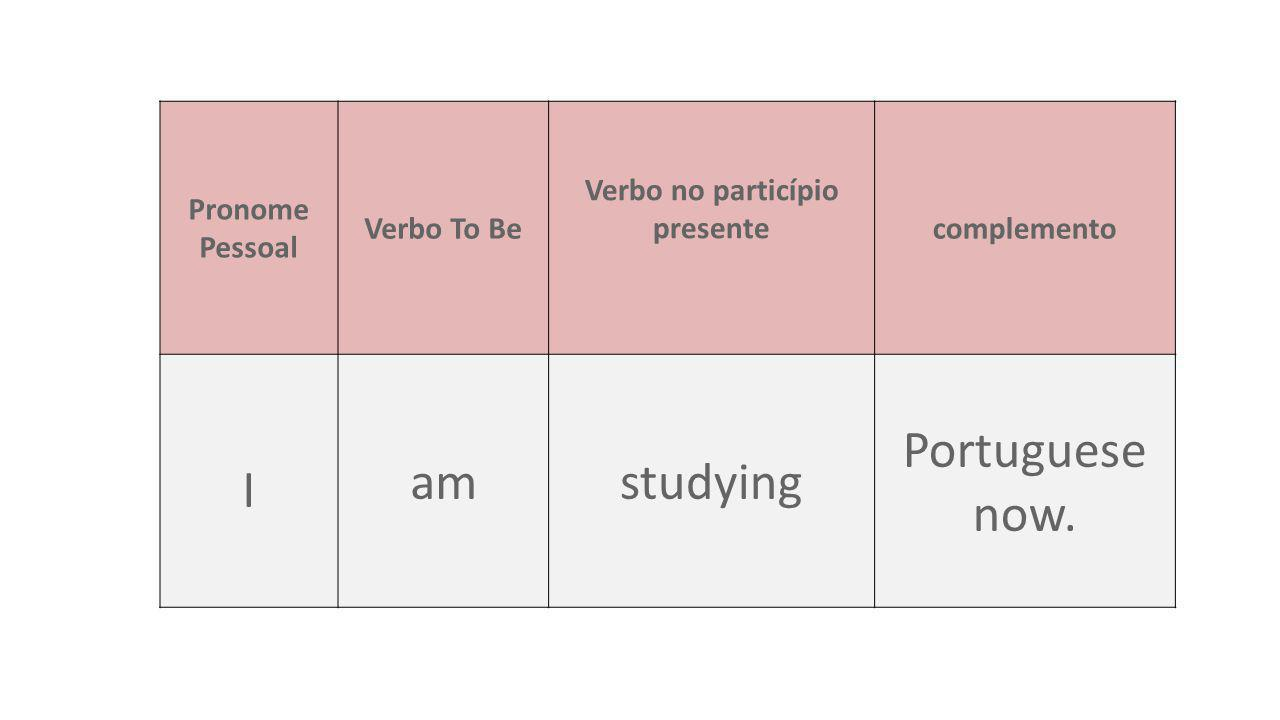 Forma afirmativa (Sujeito + To Be + Verbo-ING + Complemento) 1.