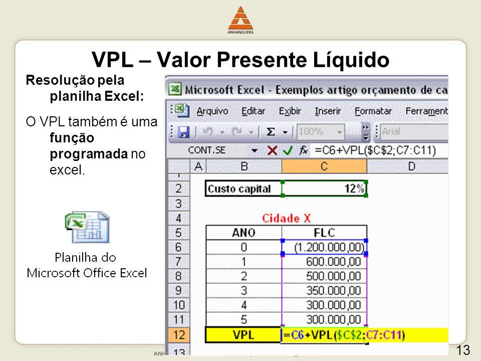 Resolução pela planilha Excel: O VPL também é uma função programada no excel. VPL – Valor Presente Líquido 13