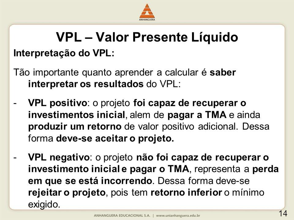 Interpretação do VPL: Tão importante quanto aprender a calcular é saber interpretar os resultados do VPL: -VPL positivo: o projeto foi capaz de recupe
