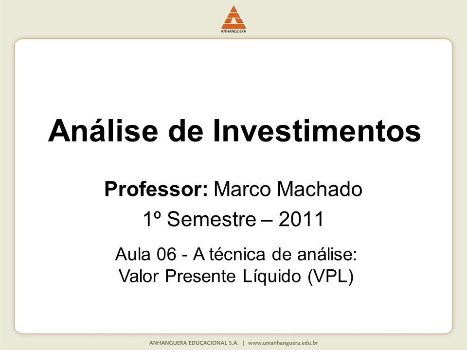 Tipos de Técnica de Analise de Investimentos Existem diversas técnicas, destacaremos as três principais: - Período de retorno (payback); - Valor Presente Liquido (VPL); - Taxa Interna de Retorno (TIR).