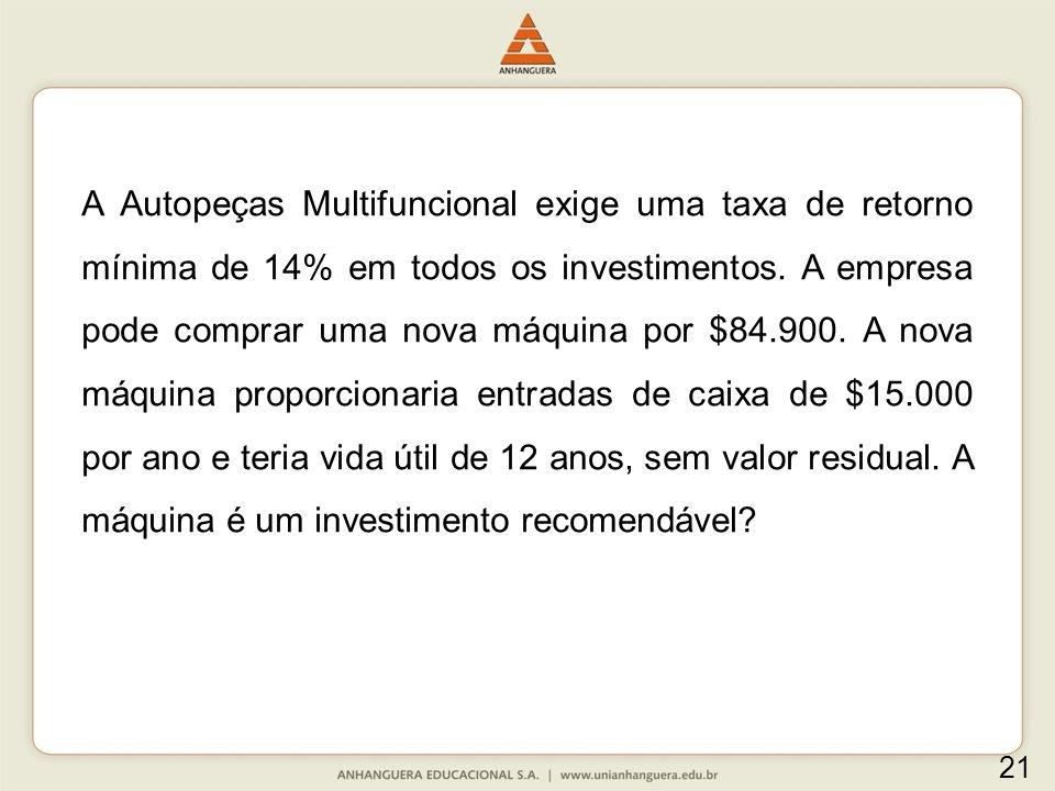 A Autopeças Multifuncional exige uma taxa de retorno mínima de 14% em todos os investimentos. A empresa pode comprar uma nova máquina por $84.900. A n