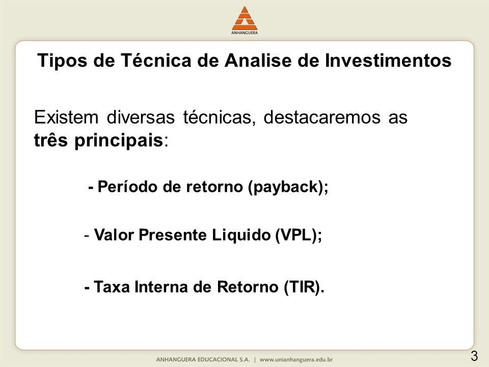 Tipos de Técnica de Analise de Investimentos Existem diversas técnicas, destacaremos as três principais: - Período de retorno (payback); - Valor Prese