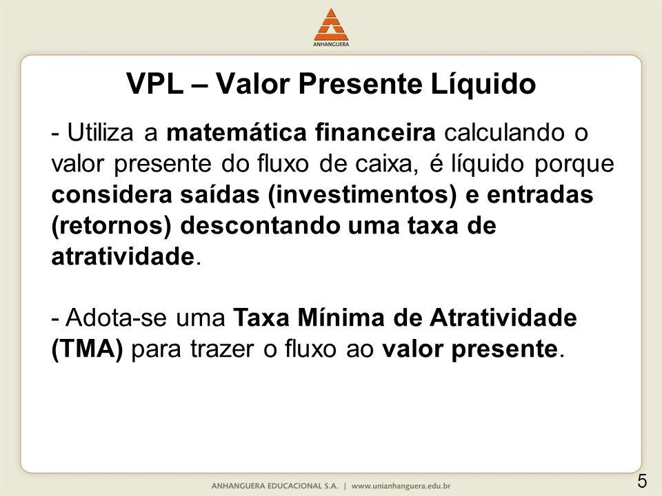 Critérios de decisão: -Projeto único: se o VPL for positivo, aceita-se o projeto, se for negativo, rejeita-se o projeto.