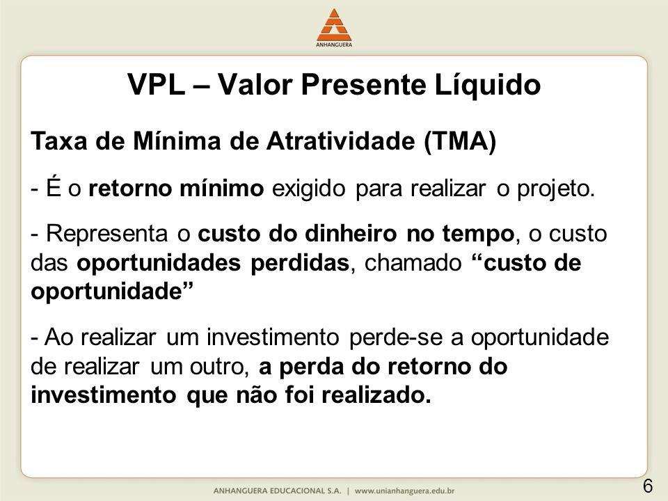 Vantagens do VPL em relação ao payback: O VPL é tecnicamente muito superior ao método de payback.