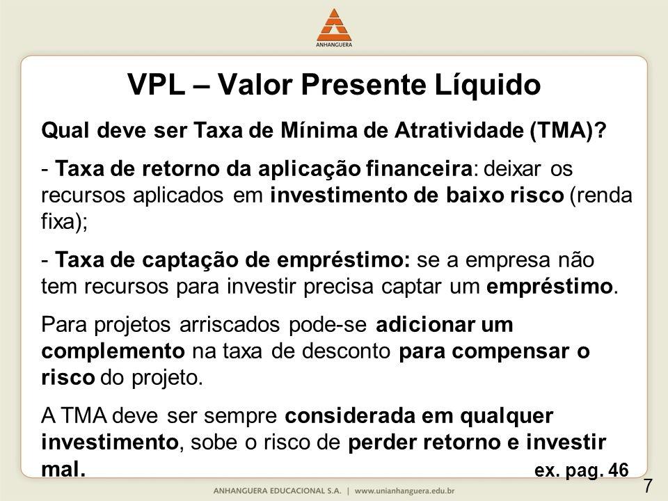 Utilização e interpretação do VPL.