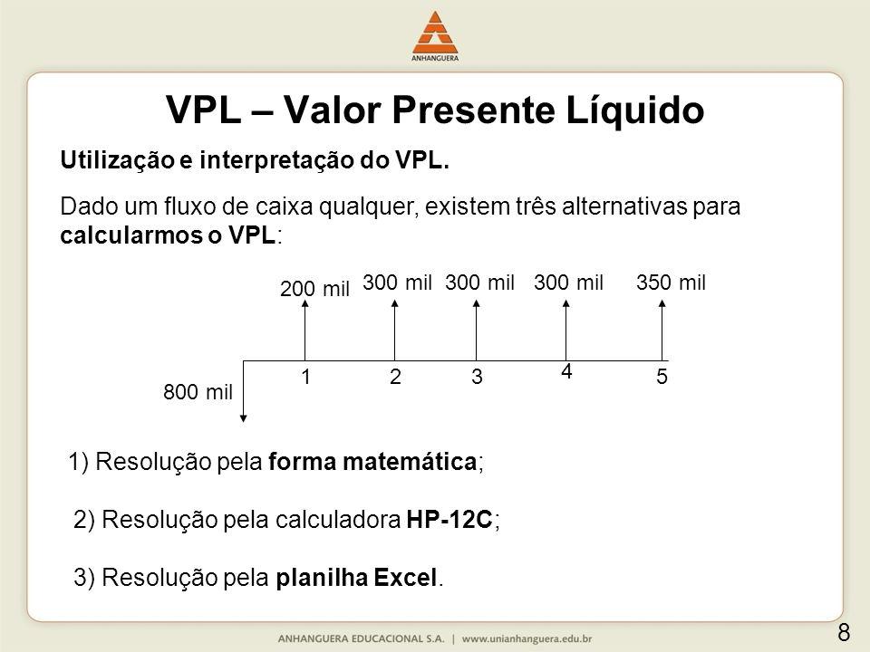 Utilização e interpretação do VPL. Dado um fluxo de caixa qualquer, existem três alternativas para calcularmos o VPL: 800 mil 300 mil 200 mil 300 mil