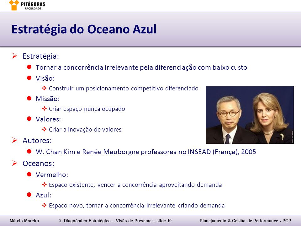Márcio Moreira2. Diagnóstico Estratégico – Visão de Presente – slide 10Planejamento & Gestão de Performance - PGP Estratégia do Oceano Azul  Estratég